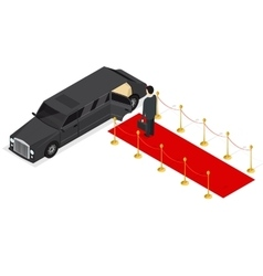 Limousine and Red Carpet Isometric View vector image