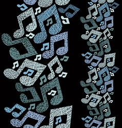 Music theme seamless pattern with notes vertical vector image vector image