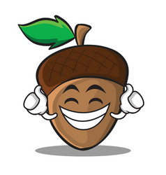 Proud acorn cartoon character style vector