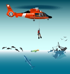 Rescuer descends from a helicopter vector image vector image