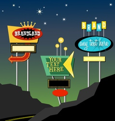 Retro roadside neon signs 1 vector