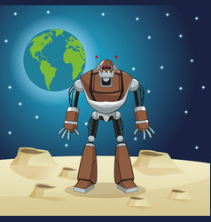 Robot automation space earth vector