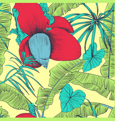 Seamless tropical pattern with banana palms vector
