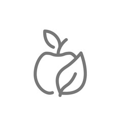 Simple eco apple line icon symbol and sign vector