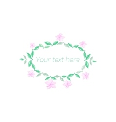 Spring floral circle ornament with text vector