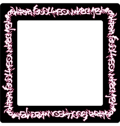 Square rounded frame pink neon graffiti tags vector