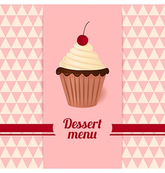 Vintage dessert menu with cherry cream cake vector image