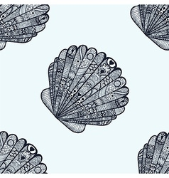 Zentangle stylized sea shell seamless pattern Hand vector image