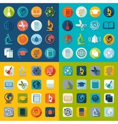 Set of education flat icons vector