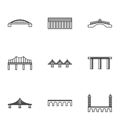 Bridge icons set outline style vector