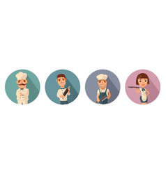 Set icon character cook waiter chef waitress vector