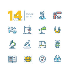 Science - colored modern single line icons set vector