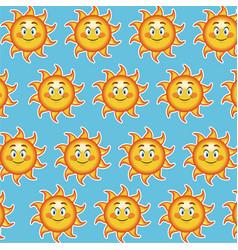 Happy funny sun smile wallpaper pattern cartoon vector