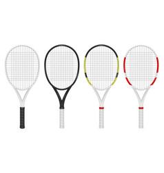 Realistic tennis racket set closeup vector