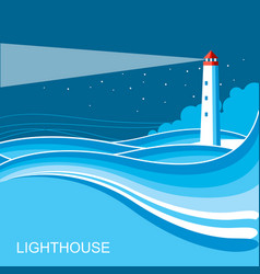 Lighthousesea waves blue night background vector