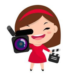 smiling girl with camera and clapperboard wearing vector image