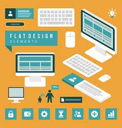 Set of flat technology icons vector