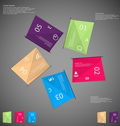 Five color paper sheets on dark vector