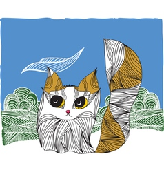 Cat on the nature vector
