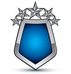 Majestic blue emblem with five silver decorative vector