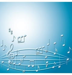 Blue background with gradient and music notes vector