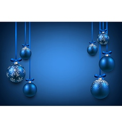 Background with blue christmas balls vector