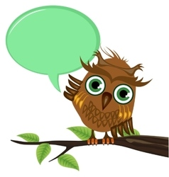 Owl on a branch with a blank speech bubble vector