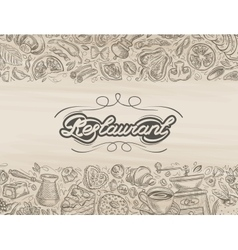 Restaurant food and drink hand drawn sketch vector