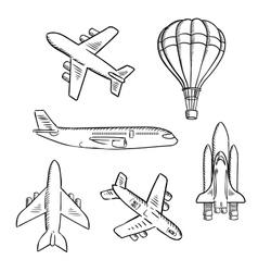 Airplanes space shuttle hot air balloon sketches vector