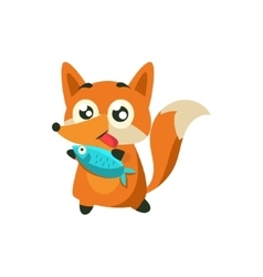 Fox with the fish vector