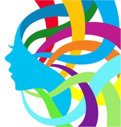 Abstract color silhouette girl vector image vector image