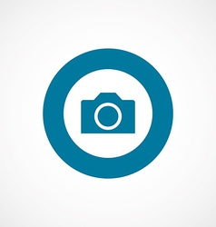Camera bold blue border circle icon vector