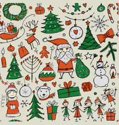 Christmas set seamless pettern for your design vector