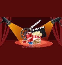 Cinema movie icons set cartoon style vector