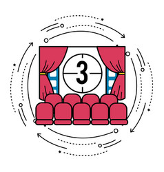 Cinema room with film countdown number 3 vector