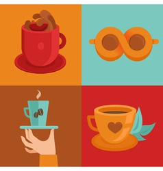 coffee concepts and signs in flat style - cups and vector image vector image