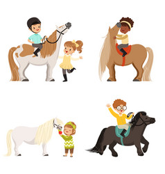 Cute little children riding ponies and taking care vector