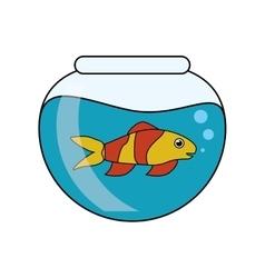 Fish animal cartoon inside bowl design vector image vector image