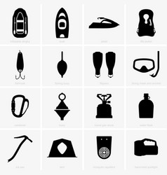 fishing and camping icons vector image vector image