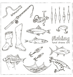 Fishing tackle tools sketches hand-drawing vector