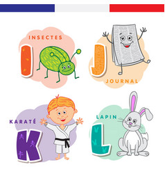 french alphabet insect newspaper karate rabbit vector image