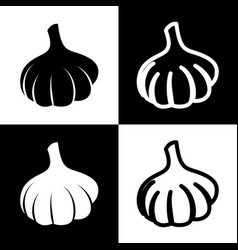Garlic simple sign black and white icons vector