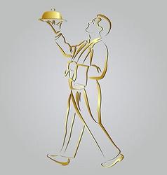 Golden line sketch waiter vector