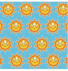 Happy funny sun smile wallpaper pattern cartoon vector
