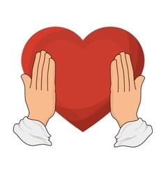 Hearts love card isolated icon vector