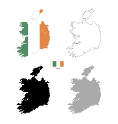 Ireland country black silhouette and with flag on vector image vector image
