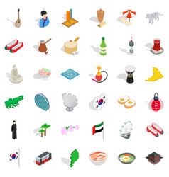 Japan icons set isometric style vector