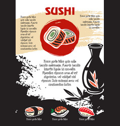 Japanese sushi or seafood restaurant poster vector