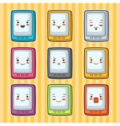 Kawaii doodle tablets set of gadgets vector