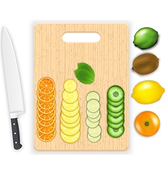 Lemon and leaf slices and knife vector